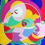 La pintura abstracta, óleo sobre lienzo: Claro sueño.. Ily Maï Blue