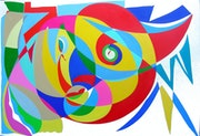 Abstract painting, oil on canvas: Lilly and fish..