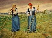 Campesinas charlando en el campo.