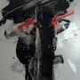 Traces noires et tache rouges sur fond gris. Mag