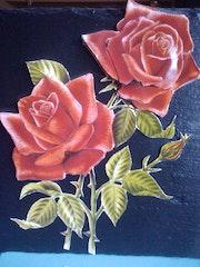 3d roses on slate.