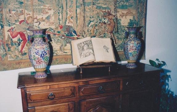 2 Schmelz Vasen reich Handarbeit gefärbt.  Andrea