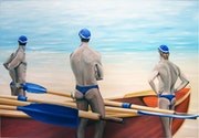 Three oarsmen are waiting for the fourth man.