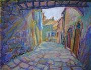 """""""Street in Sorano"""" (Toscana), oil pastel."""