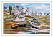 El norte de Bretaña: puerto pesquero en la marea baja. Monique Martin
