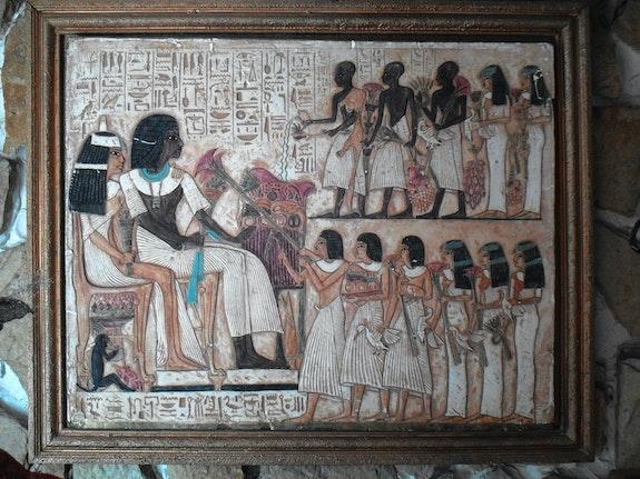 Bas relief fresque egypte XVIII mariage akhenaton nefertiti.  Muller Hans