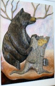 Schwarzbär essen Honig.