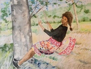 The swing watercolor. Françoise-Elisabeth Lallemand