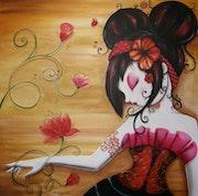 Tableau acrylique sur toile femme chinoise «songe». Berengere Breteche