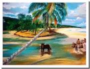 Polynésie : promenade le long du lagon. Monique Martin