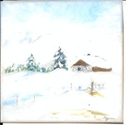 Chalet in heavy snow.