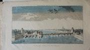 punto de vista óptico - Perspectiva del puente y la ciudad de Frankfurt.