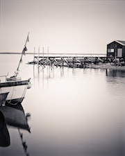 Oysterman's hut with boat, La Tremblade, Charente Maritime, France.