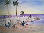 Korfu Strand auf Daler-Rowney Papier in Aquarell. Lilly Pawlowska