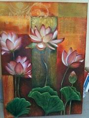 Fleurs de lotus, technique mixte, huile et sable et collages.