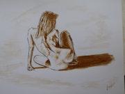 Desnudo sentado.