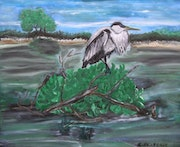 The watchman of the pond, Heron oil on canvas.