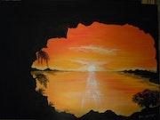 Sunset subjektiven Blick auf das Innere eines Felsens.