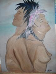 Junges Duo Haare rosa und schwarz. Jov