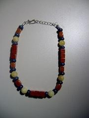 Viva Mexico-Halskette, Jaspis, Orangencalcit+Schaumkoralle (gef. ).