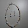 Gran Gala elegante conjunto de collar y aretes, cristal de roca, SW Zuchtperl. Regina Korell