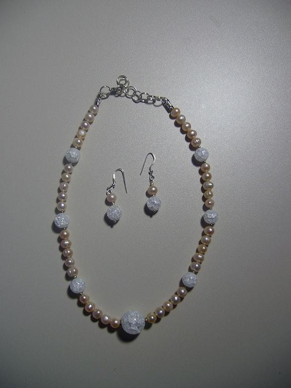 Gran Gala elegante conjunto de collar y aretes, cristal de roca, SW Zuchtperl. Regina Korell Regina Korell