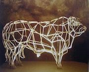 Contemporáneo de la escultura de un toro Charolais.