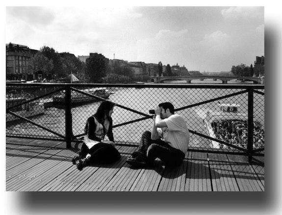 On the Pont des Arts.  Gilles Bizé