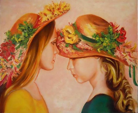 Girls in flowered hats. Marie-Claude Lempereur-Laurent Marie-Claude