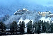 Gruyere Castle dressed in white.