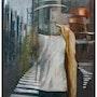 La vidriera reflejo en una vidriera de un maniquí, también se refleja las cal. Estela Bartoli