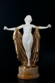 Bronze and marble sculpture art-deco. Antigüedades Bressol