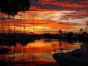 Coucher de soleil sur la marina.
