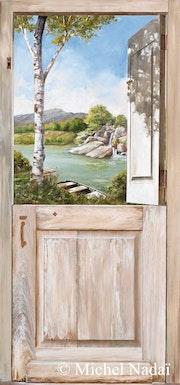 Trompe-l'oeil - View on river. Atelier Nadaï