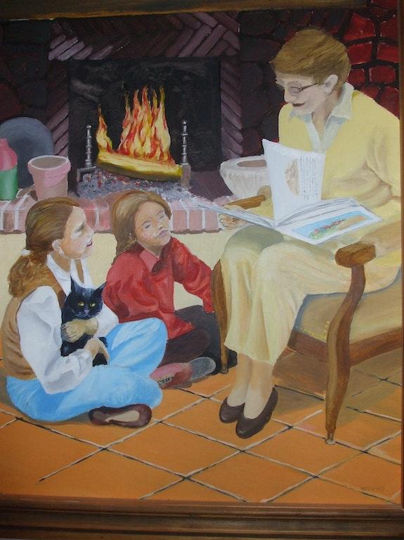 Lecture aux enfants prêt du feu. Matos Matos