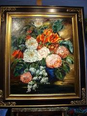 Blumenstrauß, Tulpen und Hortensien.