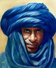 Tuareg, retrato en colores pastel.