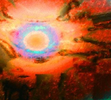 Volcanic Sun ascending over molten Lava. George Hutton Hunter