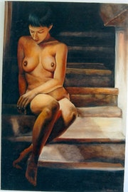 Nude in the stairs.