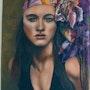 Woman in turban oil on canvas and fabric. Nathalie Koïn