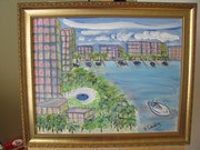 The Bridge Hotel, Boca Raton, Florida, acrylic on canvas.