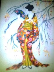 Pintura de una japonesa en tela.