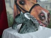 Speckstein Skulptur, «das Pferd». Lionel Fiore