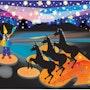 Circus Digital pintura sobre lienzo. Leslie Frank Hollander