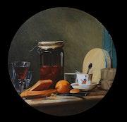 Le pot d'abricots d'après une oeuvre de Chardin. Josi