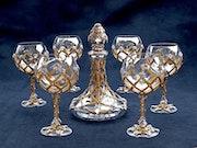 Wein Service mittelalterlichen goldenen Inlay Glas Kristall, Hämatit, Strass.