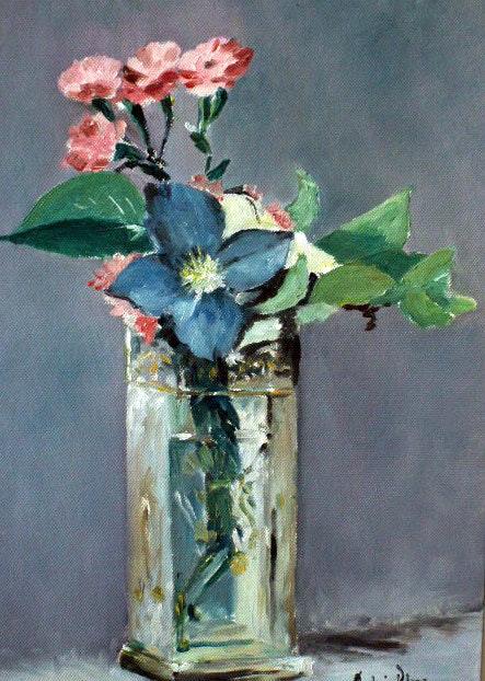 Copia de una obra de Edouard Manet jarrón de flores que me encanta.  Andre Blanc