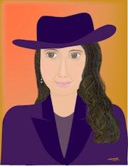 «Dame au chapeau» Peinture numérique sur toile.