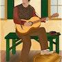 «Músico» Pintura digital en lienzo. Leslie Frank Hollander