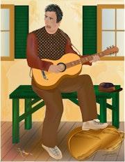 «Musicien» Peinture numérique sur toile.